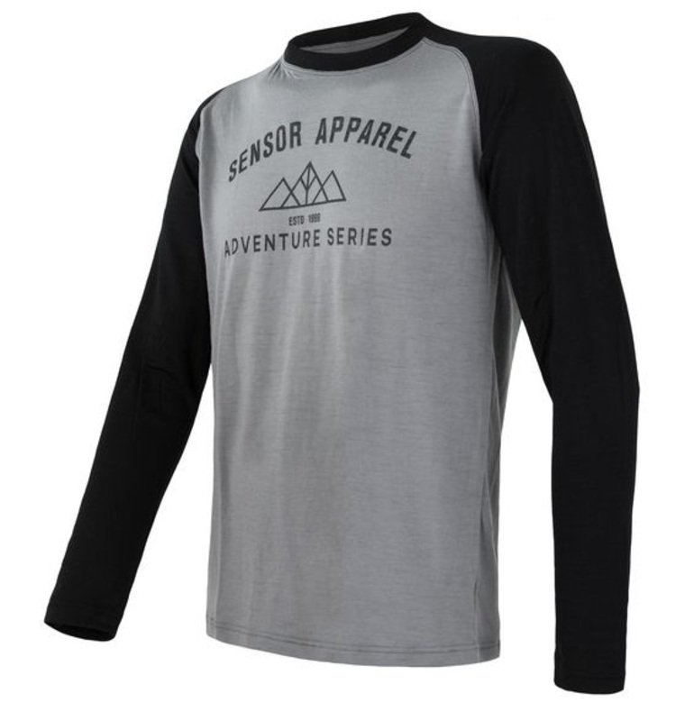 Pánské triko Sensor Merino DF Adventure dl.rukáv šedá/černá 19100007