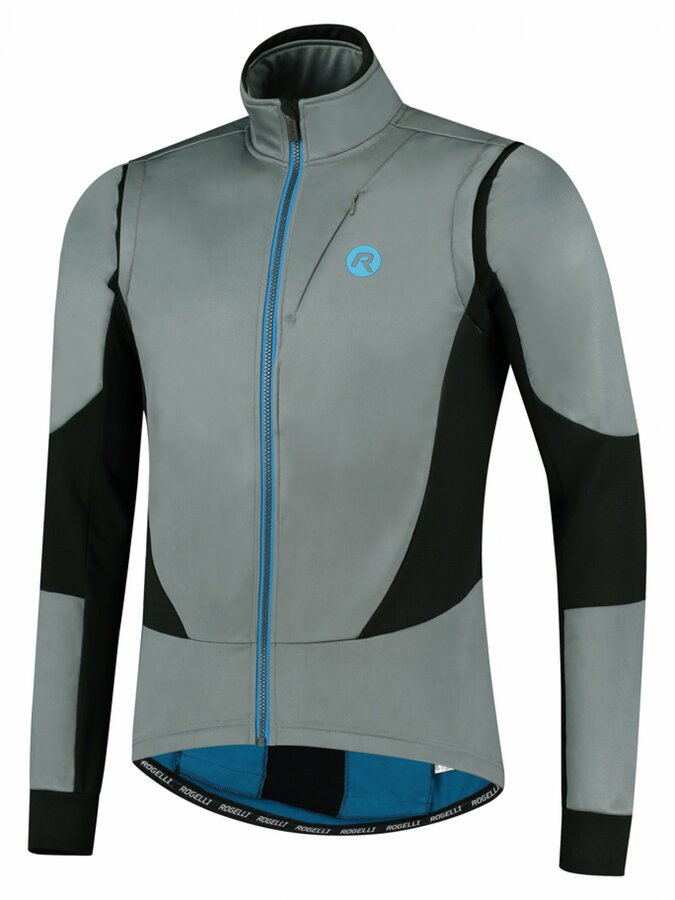 Pánská softshellová cyklobunda Rogelli Brave šedo-černo-modrá ROG351023