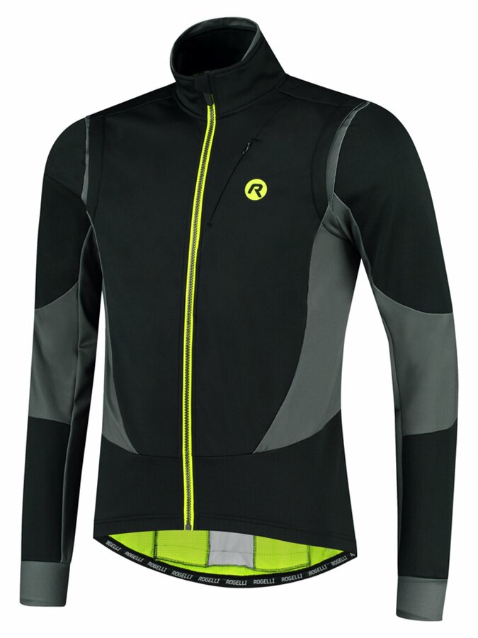 Pánská softshellová cyklobunda Rogelli Brave černo-šedo-reflexní žlutá ROG351024