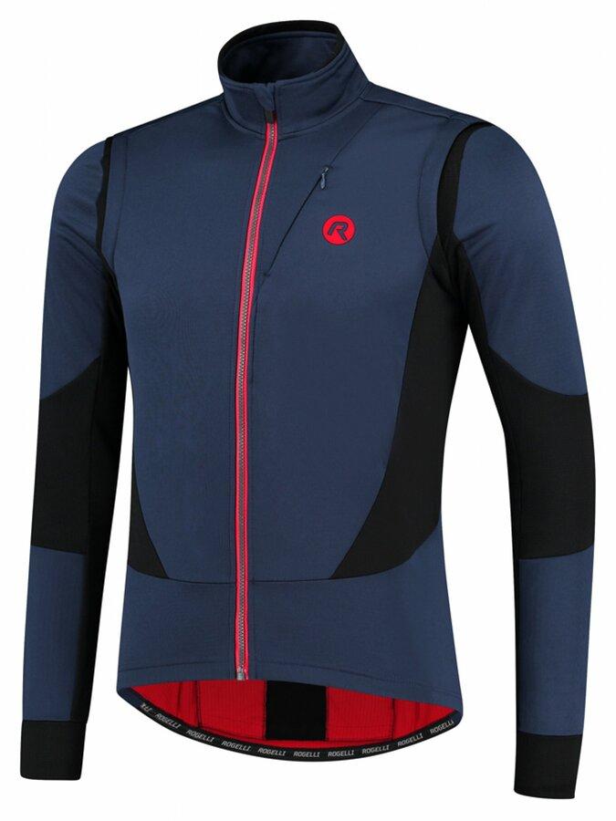Pánská softshellová cyklobunda Rogelli Brave modro-černo-červená ROG351025