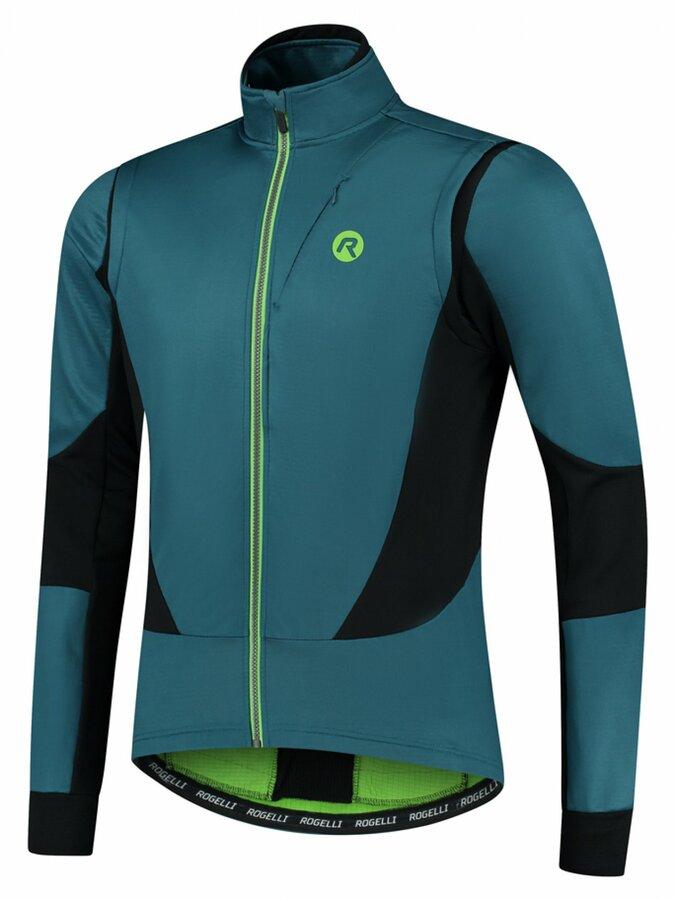 Pánská softshellová cyklobunda Rogelli Brave modro-černo-zelená ROG351026