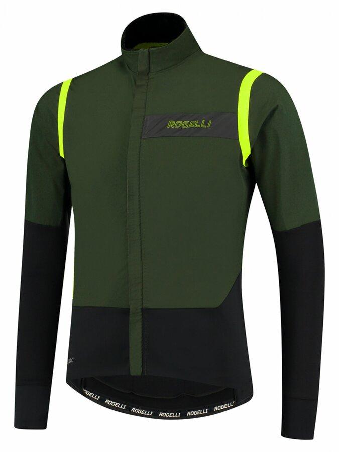 Pánská ultralehká cyklobunda Rogelli Infinite khaki-černo-reflexní žlutá ROG351048
