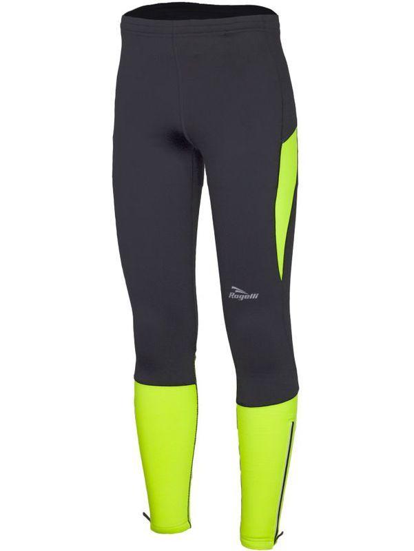 Pánské běžecké kalhoty Rogelli GROTON černoreflexní žluté 830.735