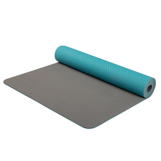 Podložka na jogu Yoga Mat dvouvrstvá materiál TPE tyrkys/šedá