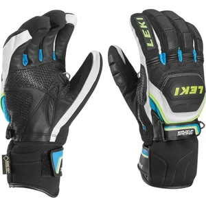Rukavice LEKI Worldcup Race Coach Flex S GTX black-white-cyan-yellow 634-80133, Leki