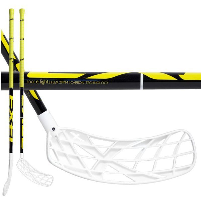 Florbalová hůl Exel EDGE E-LIGHT 2.9 black/yellow ROUND 95 SB x-blade